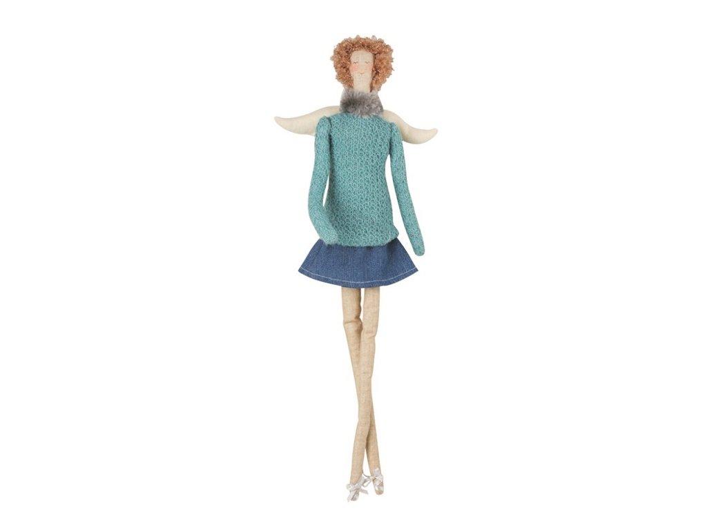 Andělka látková na posazení, v modrém 43 cm