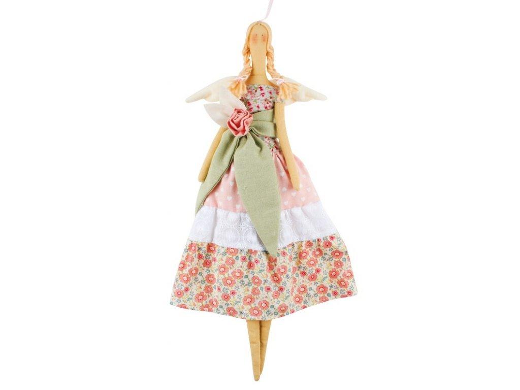 Andělka látková, růžová se zelenkavou mašlí 47 cm
