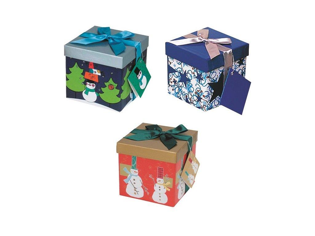 Dárková krabička skládací s mašlí vánoční S 12 x 12 x 12 cm