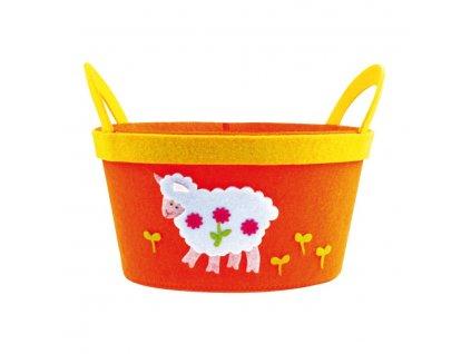 Košík z filcu oranžový s bílou ovečkou 22cm