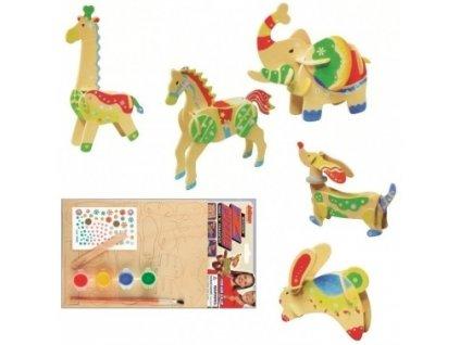 Dřevěné puzzle zvířátka koník,slon,žirafa,jezevčík,zajíc 20x15cm