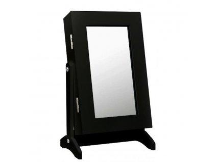 Skříňka na šperky se zrcadlem stojací malá černá 21 x 15 x 35 cm