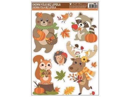 Okenní fólie s glitry podzimní zvířátka