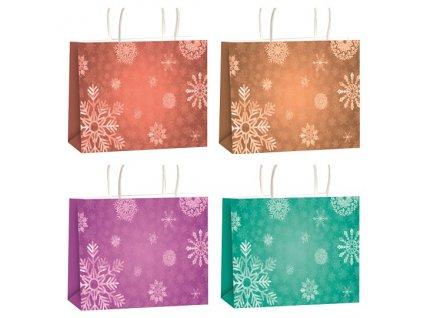 Dárková taška vánoční s glitry XL horizont 45,5 x 33 x 10,5 cm