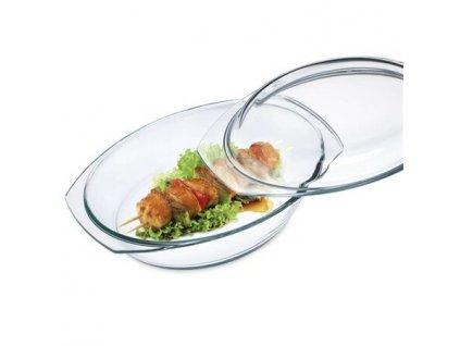 SIMAX skleněný pekáč oválný se skleněnou poklicí - obsah 2,4 litrů, 34 x 11 cm