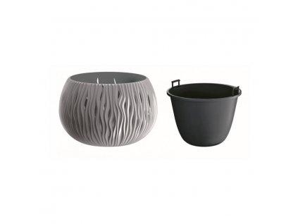 Květináč plastový SANDY BOWL průměr 37 cm - barva šedá 405U
