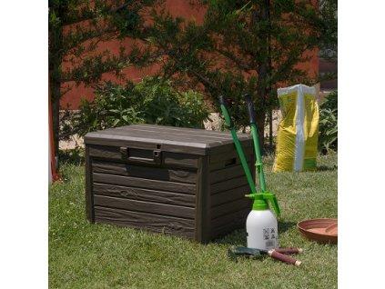Zahradní úložný box na nářadí a polstry FLORIDA 120 L - barva hnědá