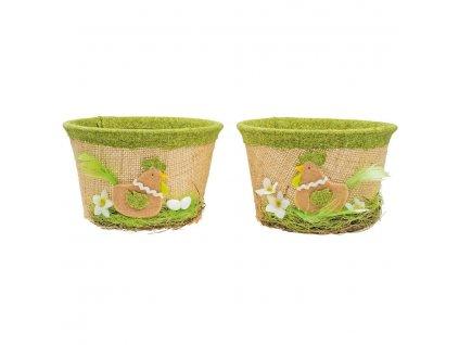 Košík velikonoční s jutou a zeleným dekorem 14 cm