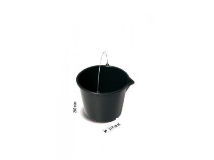 Kýbl, vědro plastové stavební s nálevkou - barva černá - 12 litrů