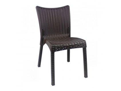 Zahradní židle polyratan - hnědá