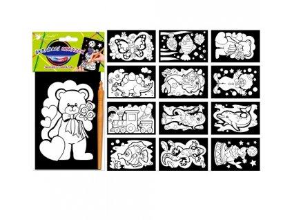 Škrabací obrázky s barevnými ornamenty 15x10cm