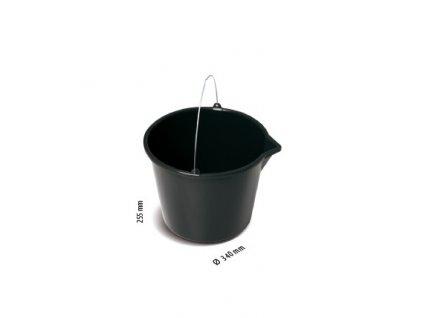 Kýbl, vědro plastové stavební s nálevkou - barva černá - 16 litrů