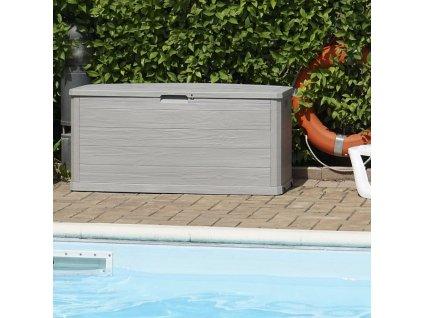 Zahradní úložný box na nářadí a polstry WOODYS 280 L - barva šedá