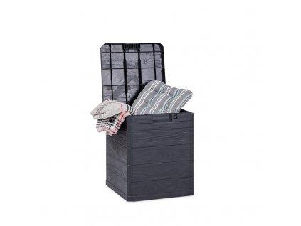 Zahradní úložný box na nářadí a polstry WOODYS 90 L - barva antracitová