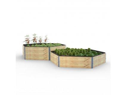 Vyvýšený záhon dřevěný - šestihran - délka stěny 115 cm