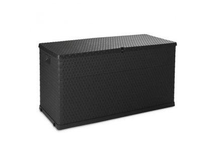 Zahradní úložný box, bedna na nářadí a polstry RATTAN 420 L - barva antracitová