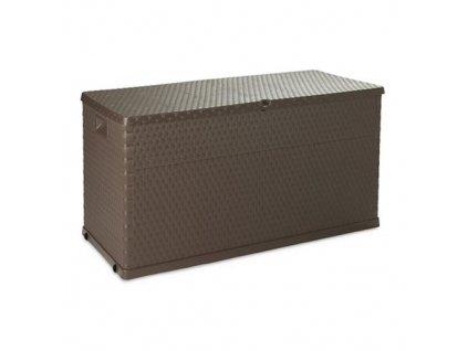 Zahradní úložný box, bedna na nářadí a polstry RATTAN 420 L - barva hnědá