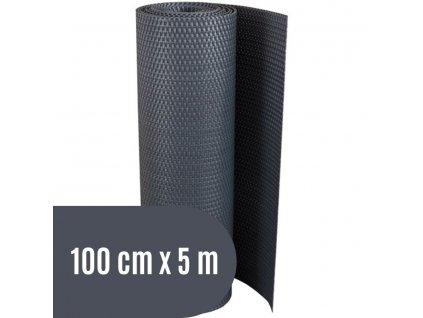 Zástěna na balkon ratanová, výška 100 cm - balení 5 m, barva tmavě šedá RD03