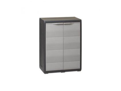 Skříňka plastová ELEGANCE 65 x 38 x 87 cm - nízká - barva: černé tělo, šedá dvířka