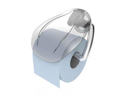 Držák WC papíru s klapkou, s přísavkou - transparentní