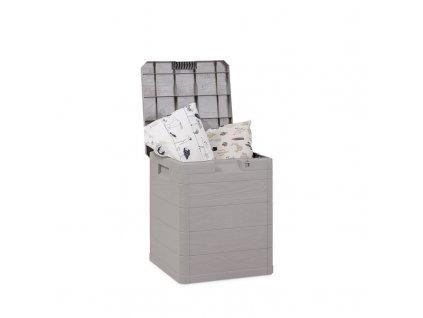 Zahradní úložný box na nářadí a polstry WOODYS 90 L - barva šedá