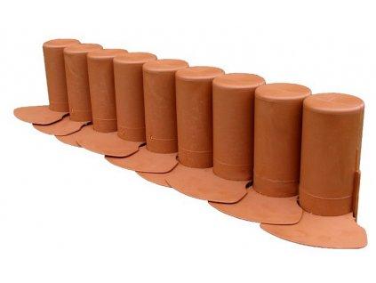 Zahradní palisáda kolíková s pojezdem 2 m - barva terakota (cihlová)