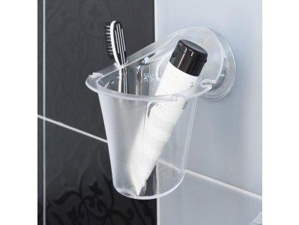 Držák zubních kartáčků a pasty s přísavkou - transparentní