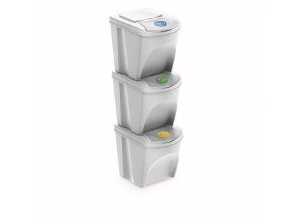 Koš na tříděný odpad Sortibox 3 x 25 L - barva bílá