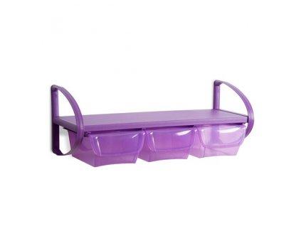 Polička plastová se 3 úložnými boxy, 80 x 30 x 30 cm - barva fialová