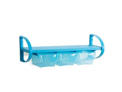 Polička plastová se 3 úložnými boxy, 80 x 30 x 30 cm - barva modrá
