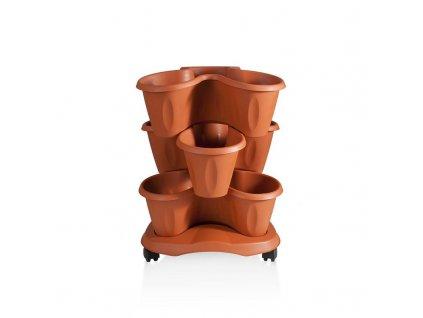 Set triola - setava 3 květináčů + miska s kolečky - barva terakota(cihlová)