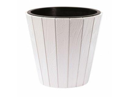 Plastový květináč venkovní Woode s imitací dřeva, pr. 49 cm - barva bílá