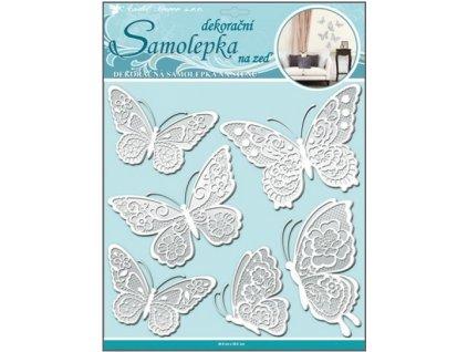 Samolepka na zeď motýli s bílými krajkovými křídly 30,5x30,5cm