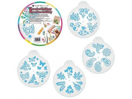 Kreativní šablony kytky a motýli, 25 cm