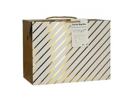 Dárková taška uzavíratelná M 23x16x11 cm se zlatými proužky