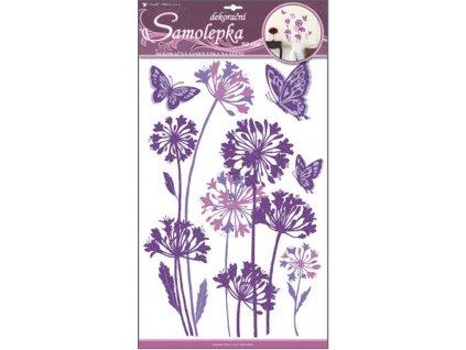 Samolepky na zeď pampelišky fialové s glitrem 50x32 cm