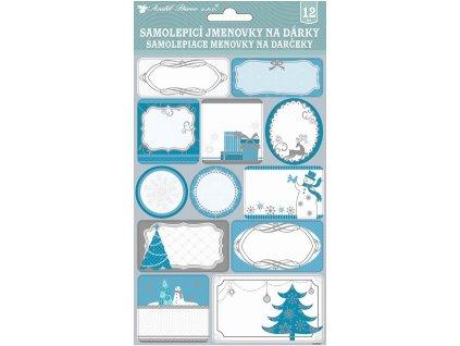 Samolepicí jmenovky na dárky modrobílé se stříbrnou ražbou 24 ks 23x15 cm