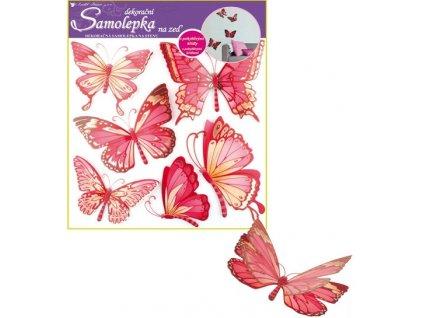 Samolepky na zeď motýli růžoví s pohyblivými křídly 30,5x30,5cm