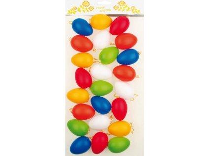 Vajíčka plastová na zavěšení 6 cm, 24 ks v sáčku mix barev