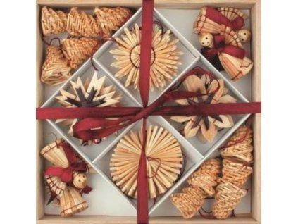Slaměné dekorace v dřevěné krabičce 32 ks vínový dekor