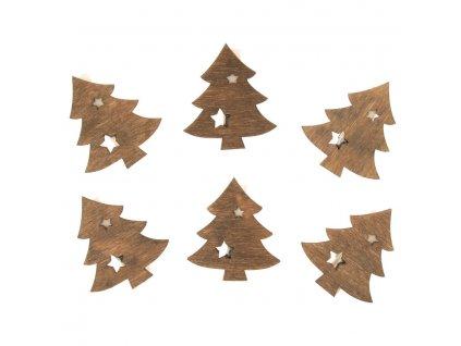 Stromky dřevěné na kolíčku 4 cm, 6 ks