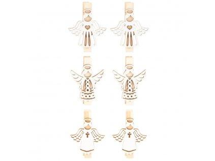 Anděl dřevěný 3,5 cm 6 ks, na kolíčku, bílý