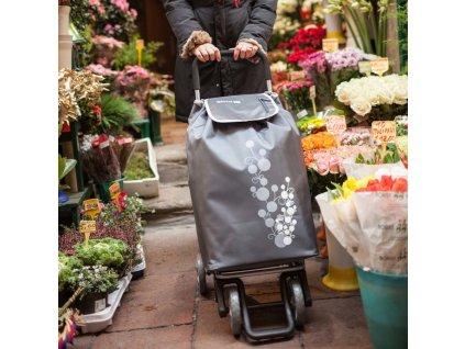Nákupní taška na kolečkách TWIN - barva šedá