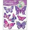 Samolepky na zeď motýli fialoví 30,5x30,5 cm