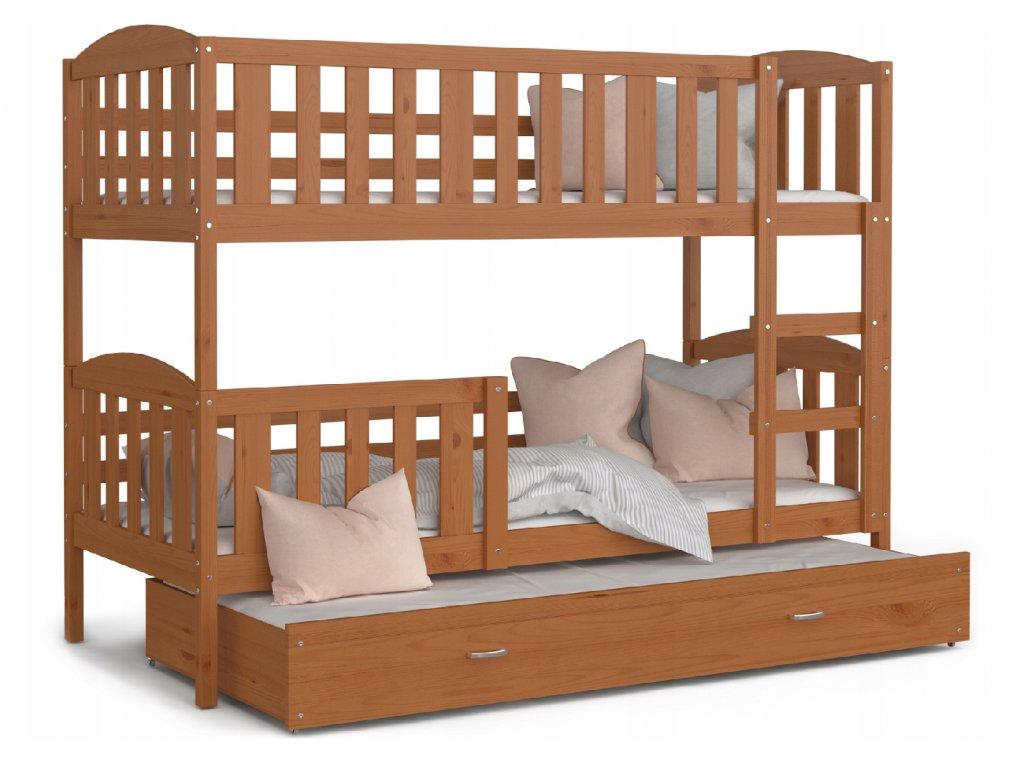 Emeletes ágy pótággyal 3 gyermeknek Jakab 3 éger 190x80
