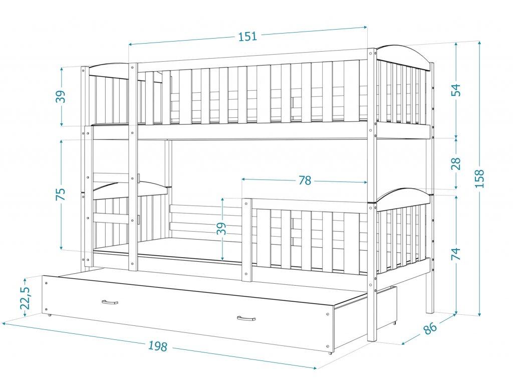 JAKAB 3 emeletes ágy FEHÉR vendégággyal