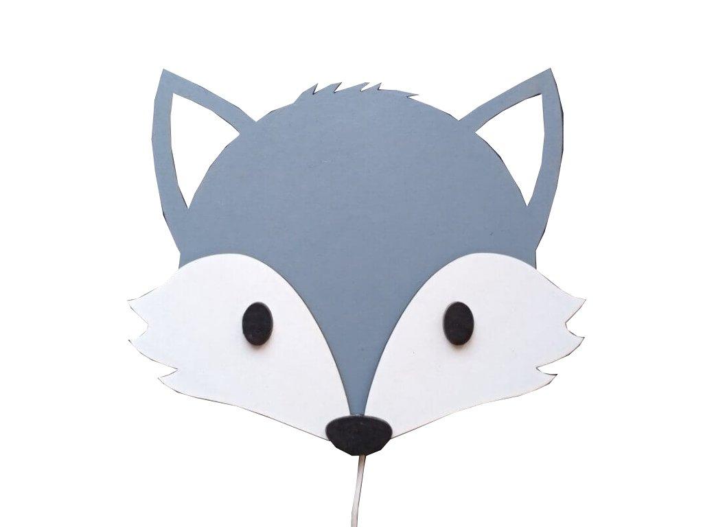 Detská lampička VLK - drevená handmande nočná lampička pre deti vlk