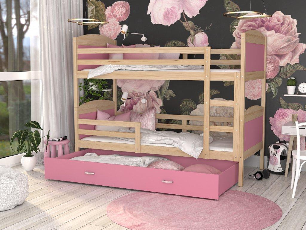MÁTYÁS emeletes ágy tároló fiókkal Rózsaszín színben