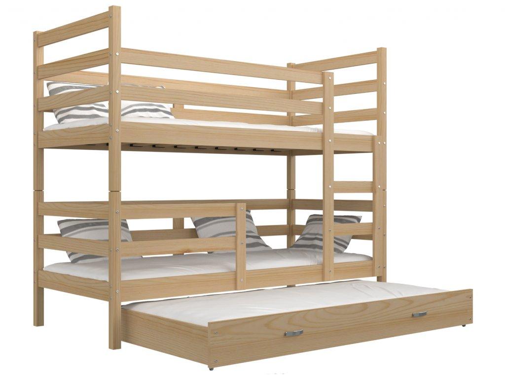 János 3 emeletes ágy pótággyal 190x80