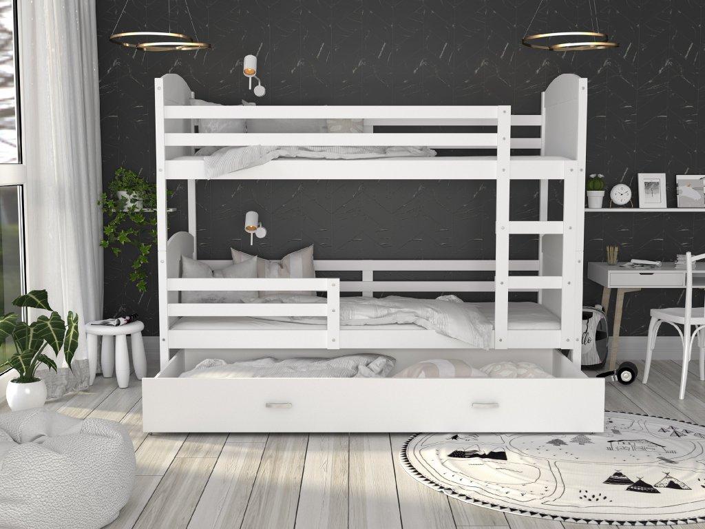 Matúš 2 biela MDF poschodová posteľ s úložným boxom 190x80
